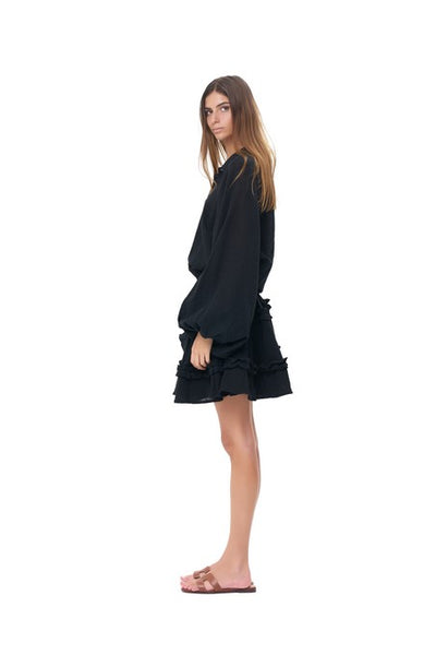 Willow - Long Sleeve Black Linen Dress