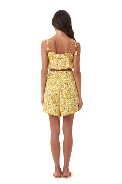 Iman - Crop Top in Vintage Flower Yellow