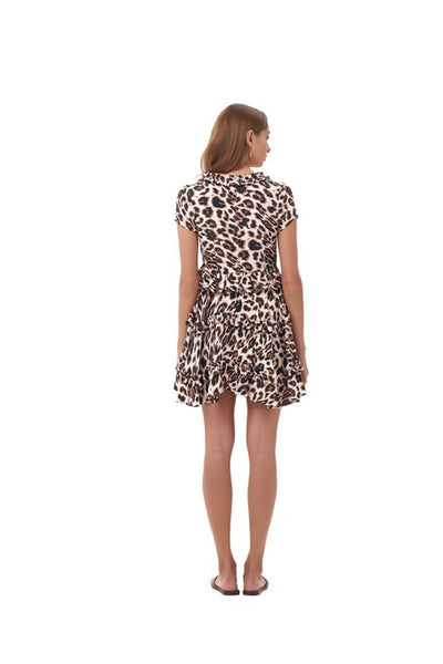 Freja - Flared Mini Skirt in Leopard Print