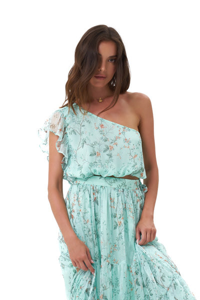 Drake - One Shoulder Silk Swing Top in Oriental Silk Blue