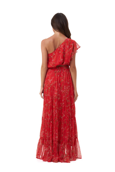 Drake - One Shoulder Silk Swing Top in Oriental Silk Red