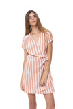 Clemence - Dress in Stripe Coral Sands