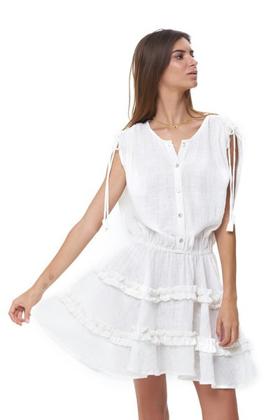 Avery - Dress with Draw Sleeves Flared Ruffle Skirt in White Linen