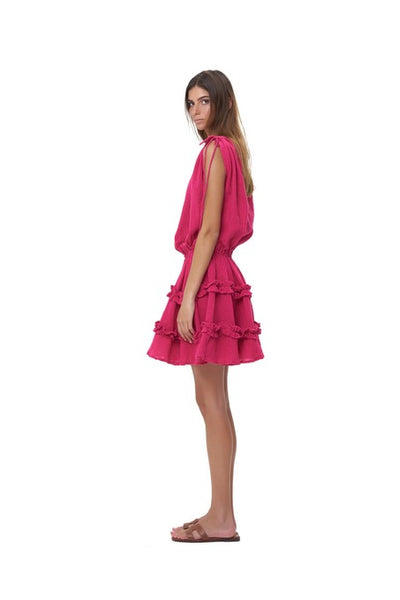 Avery - Dress with Draw Sleeves Flared Ruffle Skirt in Plain Celosia