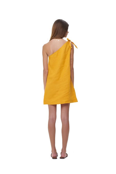 Almira - One shoulder mini dress in Citrus Linen