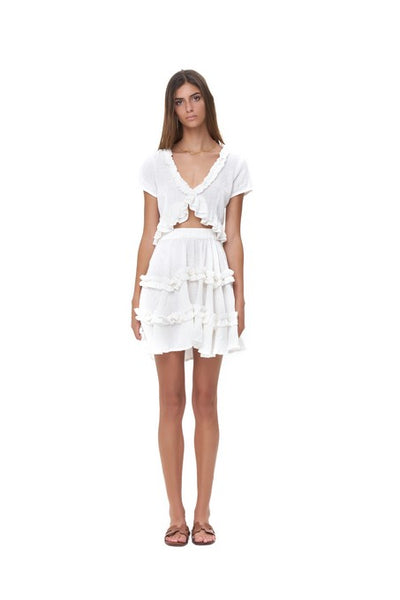 Luma - V Neck Short Sleeved Ruffle Crop Top in White Linen