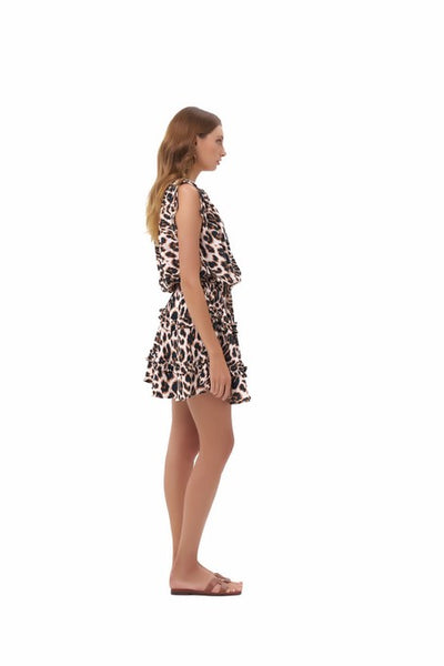 Avery - Dress with Draw Sleeves Flared Ruffle Skirt in Leopard Print