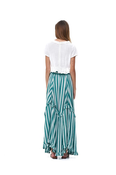 Ines - Maxi tiered skirt in Stripe Sea Green