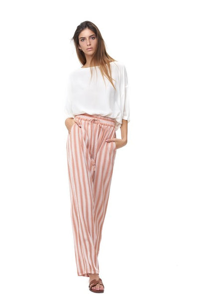 Iva - Pant in Stripe Coral Sands