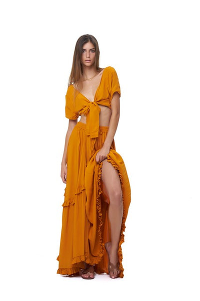 Ines - Maxi tiered skirt in Plain Citrus