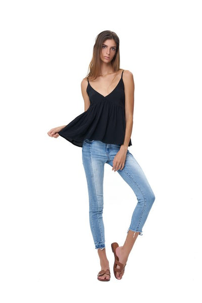 Ksenia - Baby Doll Camisole Top in Black