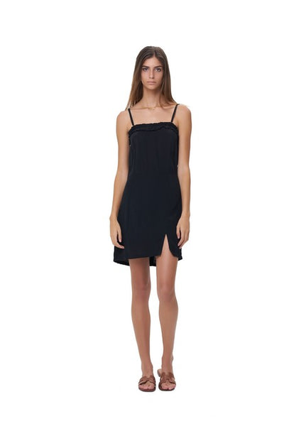 Romy - Spaghetti Strap Mini Dress in Black