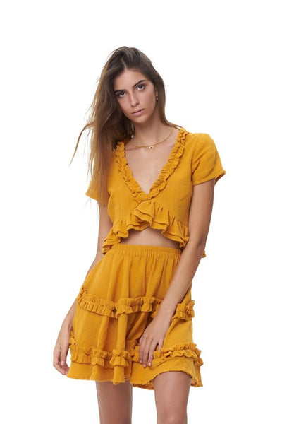 Luma - V Neck Short Sleeved Ruffle Crop Top in Plain Citrus