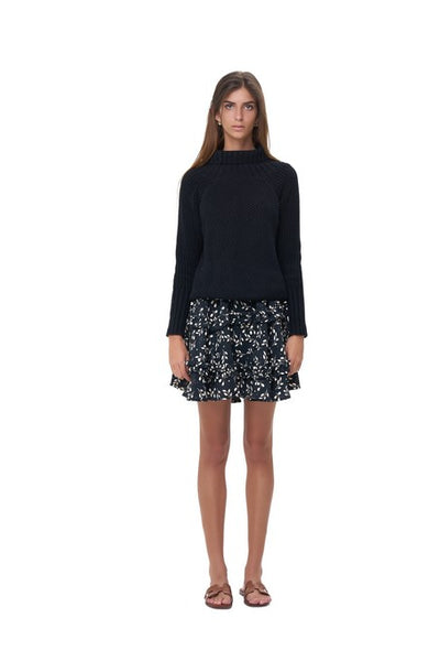 Freja - Flared Mini Skirt in Gum Nut Leaves Black