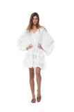 Willow - Long Sleeve White Linen Dress