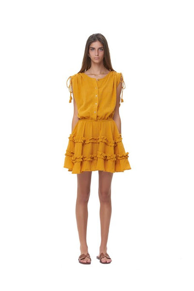 Avery - Dress with Draw Sleeves Flared Ruffle Skirt in Plain Citrus