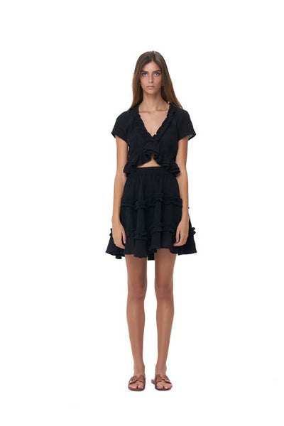 Luma - V Neck Short Sleeved Ruffle Crop Top in Black Linen