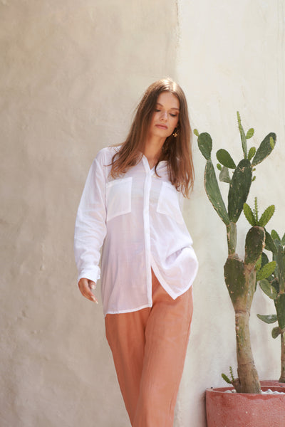 The Cruise - Long Sleeve Button Up Shirt in White