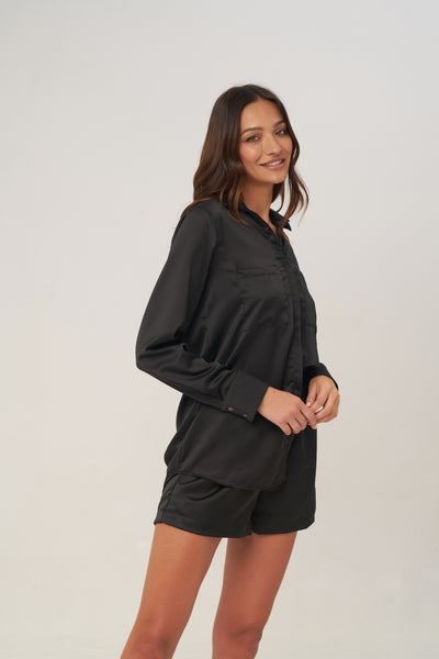 The Cruise - Long Sleeve Button Up Shirt in Black satin
