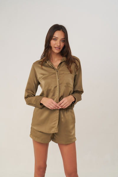 The Cruise - Long Sleeve Button Up Shirt in Olive