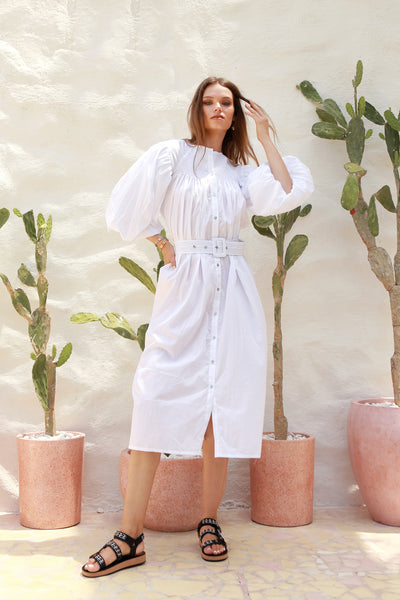 Siena - Maxi Puff Dress with Shirring and Belt in White