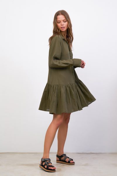 Hermione - Long Sleeve Dress in Khaki