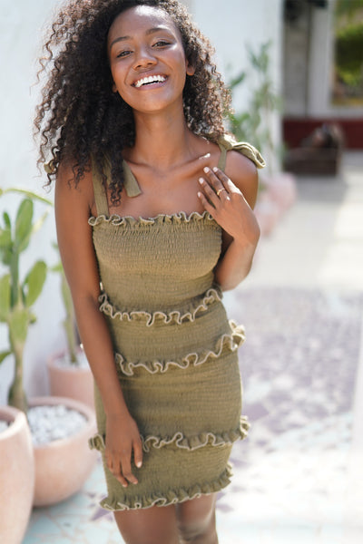 Levant - Shirring Ruffle Mini Dress in Khaki