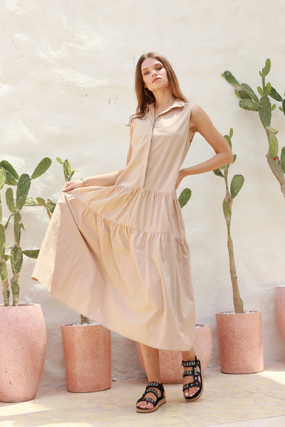 Palermo - Cut Off Sleeve Dress with Collar in Cappuccino