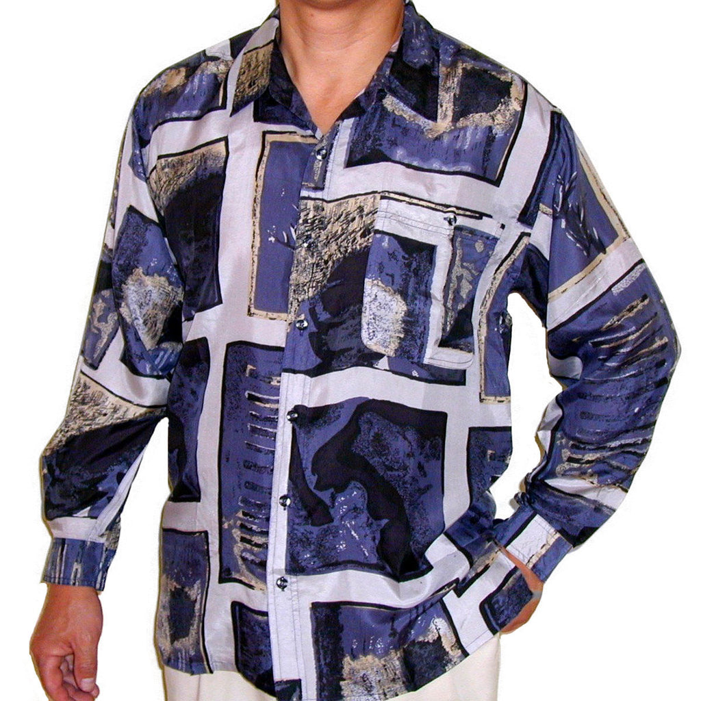 Men's Long Sleeve 100% Silk Shirt (Print 101) S,M,L