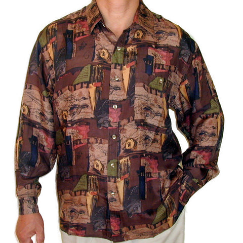 Men's Long Sleeve 100% Silk Shirt (Print102) S,M,L