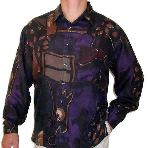 Men's Long Sleeve 100% Silk Shirt (Print 103) S,M,L