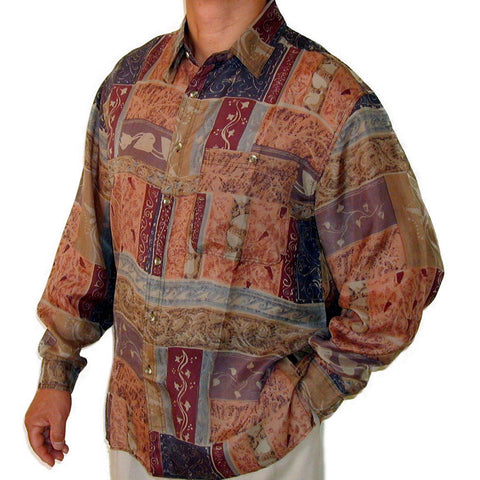 Men's Long Sleeve 100% Silk Shirt (Print 101) S,M