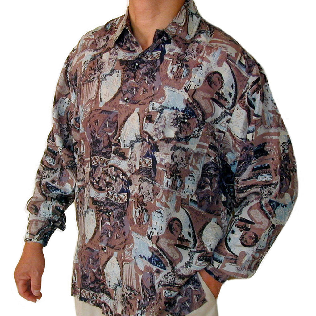 Men's Long Sleeve 100% Silk Shirt (Print105) S,M,L,XL