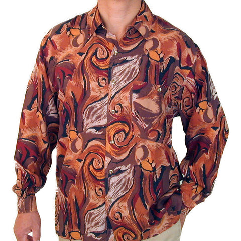 Men's Long Sleeve 100% Silk Shirt (Print 106) S,M,L