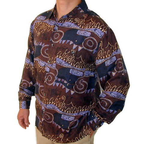 Men's Long Sleeve 100% Silk Shirt (Print 107) S,M,L