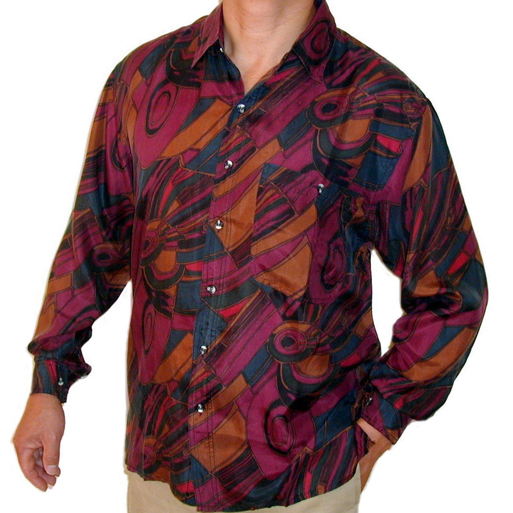 Men's Long Sleeve 100% Silk Shirt (Print 108) S,M,L