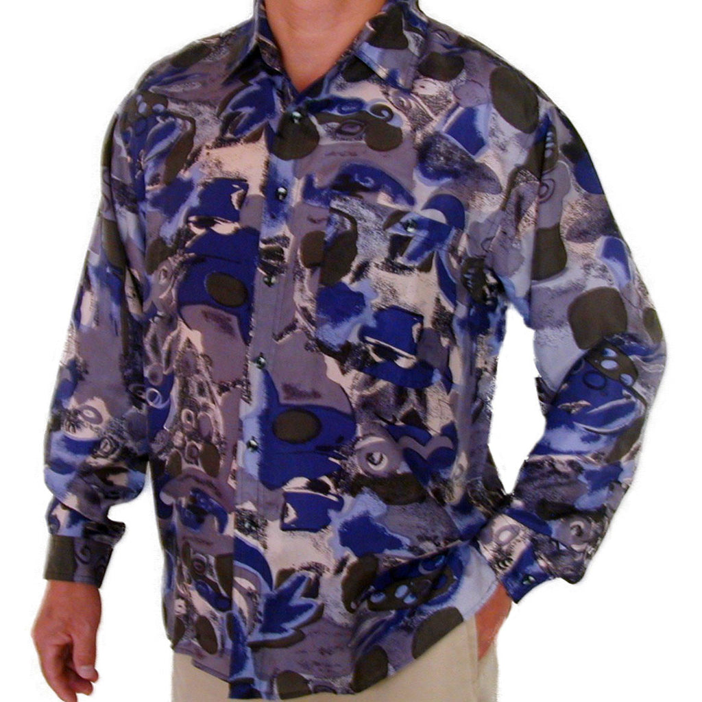 Men's Long Sleeve 100% Silk Shirt (Print110) S,M,L,XL
