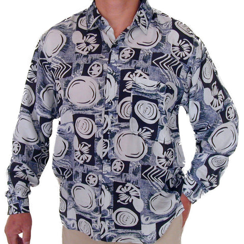 Men's Long Sleeve 100% Silk Shirt (Print 111) S,M,L