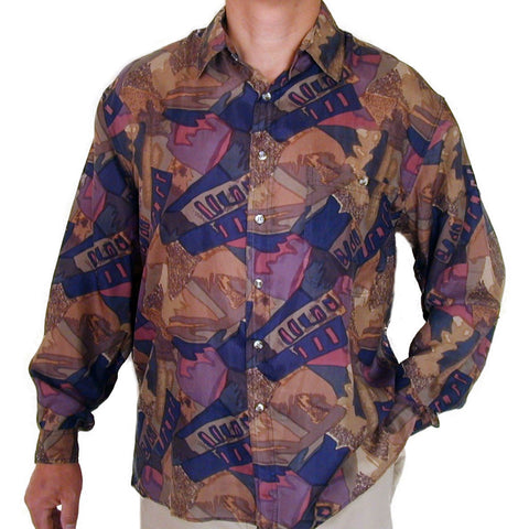 Men's Long Sleeve 100% Silk Shirt (Print113) S,M,L,XL