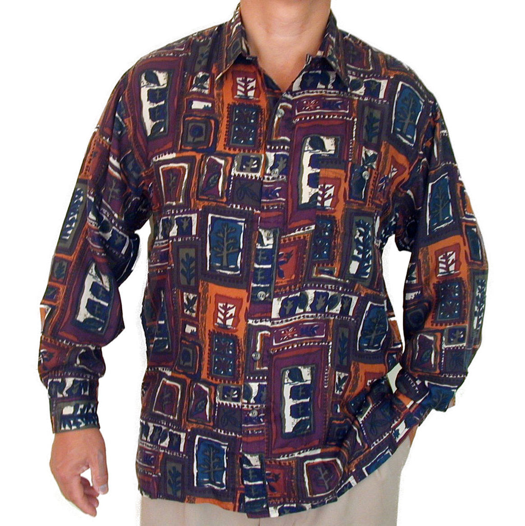Men's Long Sleeve 100% Silk Shirt (Print 120) S,M,L