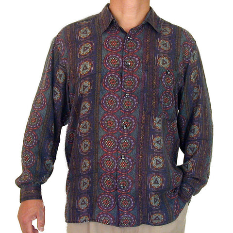 Men's Long Sleeve 100% Silk Shirt (Print 121) S,M
