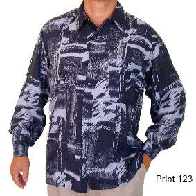 Men's Long Sleeve 100% Silk Shirt (Print 123) S,M,L