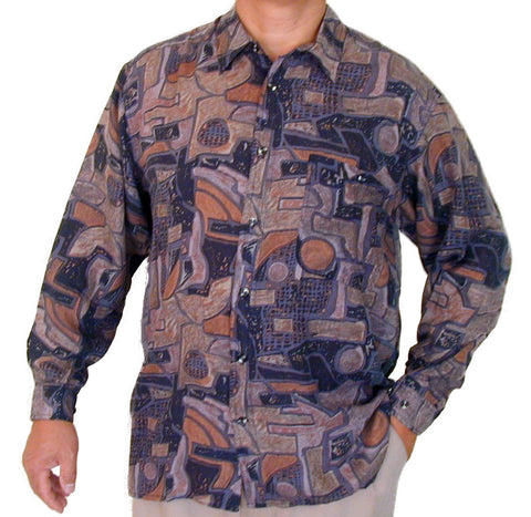 Men's Long Sleeve 100% Silk Shirt (Print 124) S,M,L
