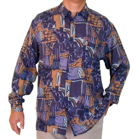Men's Long Sleeve 100% Silk Shirt (Print125) S,M,L,XL