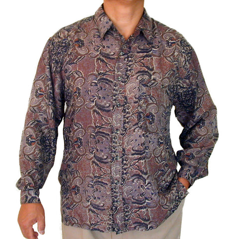 Men's Long Sleeve 100% Silk Shirt (Print126) S,M,L,XL