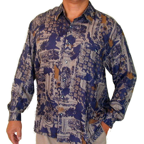 Men's Long Sleeve 100% Silk Shirt (Print127) S,M,L,XL