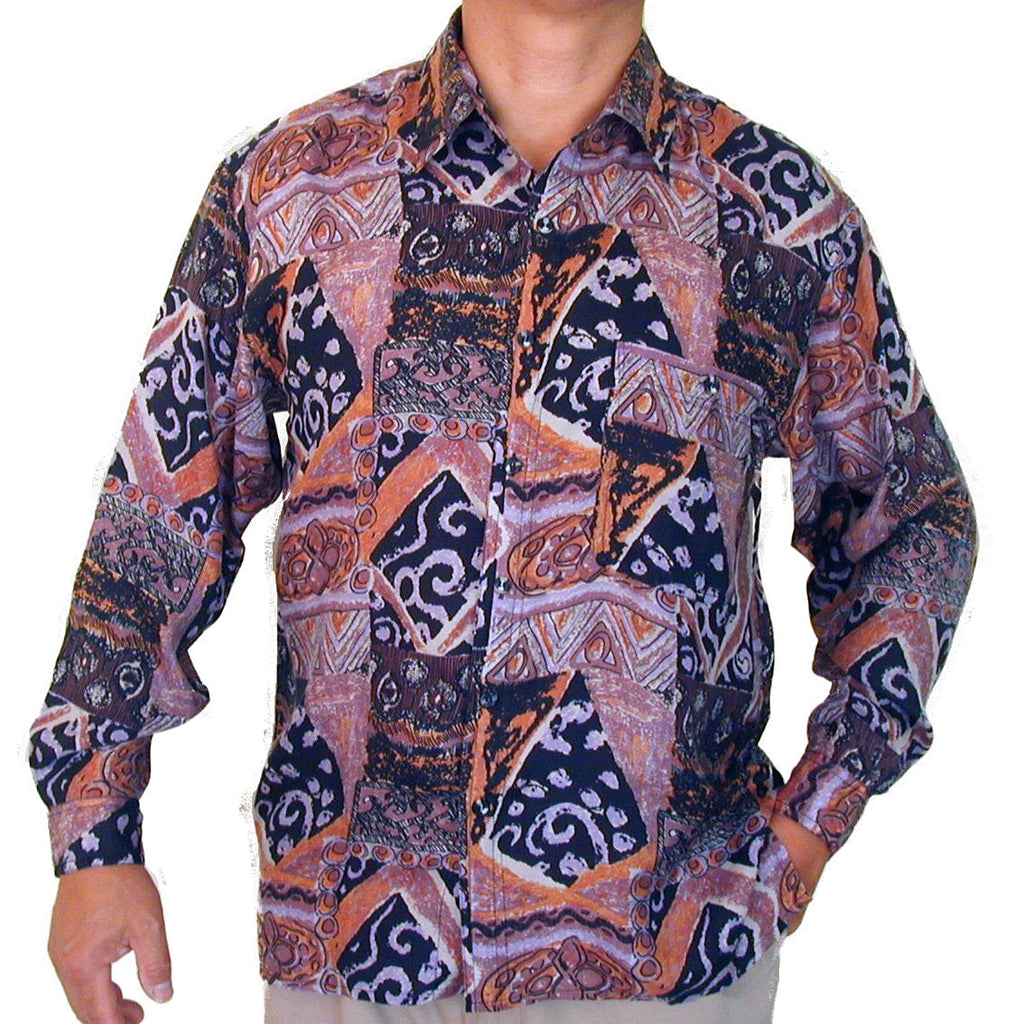 Men's Long Sleeve 100% Silk Shirt (Print 128) S,M,L