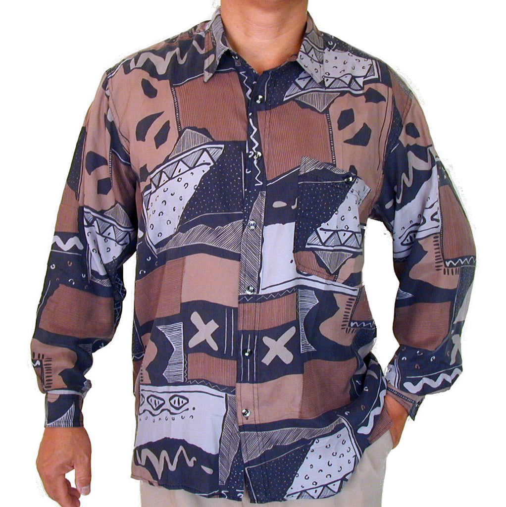 Men's Long Sleeve 100% Silk Shirt (Print 129) S,M,L