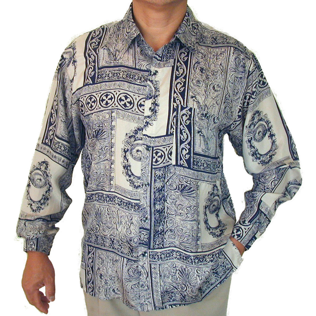 Men's Long Sleeve 100% Silk Shirt (Print 130) S,M