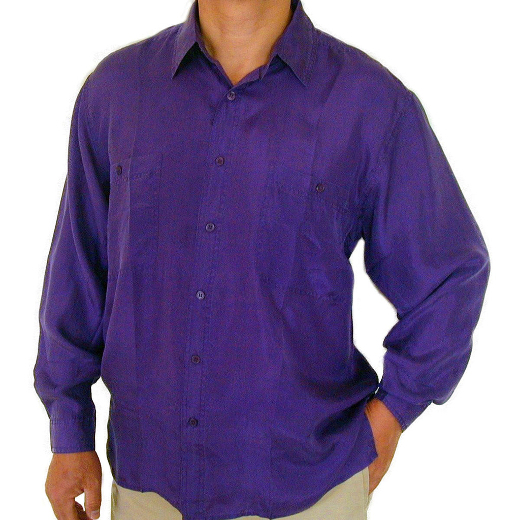 Men's Long Sleeve 100% Silk Shirt (Purple) S,M,L,XL